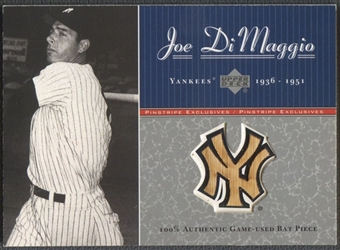 2001 Upper Deck Pinstripe Exclusives #B3 Joe DiMaggio Memorabilia Bat #056/100