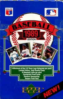 1989 Upper Deck Low # Baseball Wax Box (EX Box - Mint Packs)