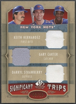 2005 SP Legendary Cuts #SCH Keith Hernandez Gary Carter Darryl Strawberry Significant Trips Jersey #06/10