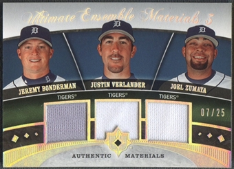 2006 Ultimate Collection #VBZ Jeremy Bonderman, Justin Verlander, & Joel Zumaya Ensemble Triple Jersey #07/25