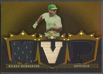 2007 Topps Triple Threads #144 Rickey Henderson Relics Sepia Jersey Bat #23/27