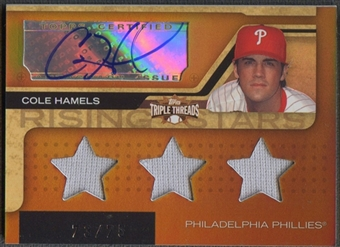 2008 Topps Triple Threads #199 Cole Hamels Sepia Jersey Auto #73/75