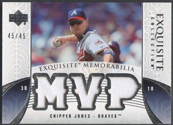 2006 Exquisite Collection #CJ2 Chipper Jones Memorabilia Jersey #45/45