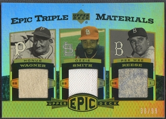 2006 Upper Deck Epic #WSR Honus Wagner, Ozzie Smith, & Pee Wee Reese Triple Materials Jersey #36/99