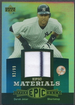 2006 Upper Deck Epic #DJ1 Derek Jeter Materials Teal Jersey #92/99