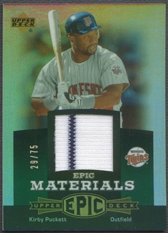 2006 Upper Deck Epic #KP1 Kirby Puckett Materials Green Jersey #29/75
