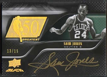 2008/09 UD Black #50AUSJ Sam Jones 50 Greatest Gold Auto #13/15
