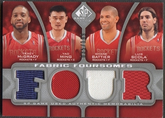 2009/10 SP Game Used #F4MBMS Tracy McGrady, Shane Battier, Yao Ming, & Luis Scola Jersey #035/199