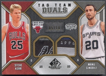 2009/10 SP Game Used #TDKG Steve Kerr & Manu Ginobili Tag Team Dual Patch #05/10