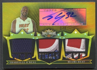 2007/08 Topps Triple Threads #102 Shaquille O'Neal Gold Patch Auto #1/1