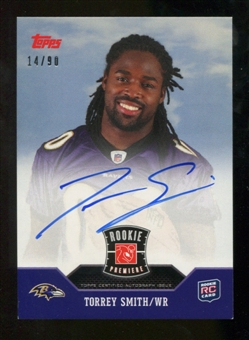 2011 Topps Rookie Premiere Autographs #RPTS Torrey Smith RC 14/90