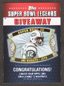2011 Topps Super Bowl Legends Giveaway #SBLG1 Joe Namath