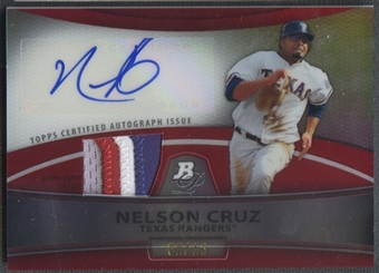 2010 Bowman Platinum #NC Nelson Cruz Red Refractor Patch Auto #02/10