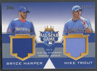 2012 Topps Update # HT Bryce Harper & Mike Trout All-Star Stitches Dual Jersey #07/25