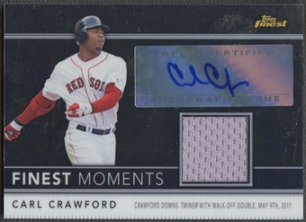 2011 Finest  #FMA2 Carl Crawford Moments Relic Jersey Auto #048/274