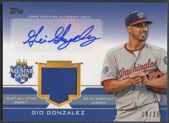 2012 Topps Update # GG Gio Gonzalez All-Star Stitches Jersey Auto #18/25