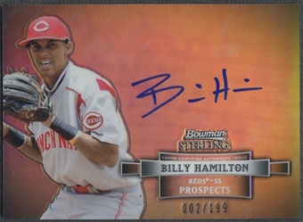 2012 Bowman Sterling #BH Billy Hamilton Prospect Refractor Auto #002/199