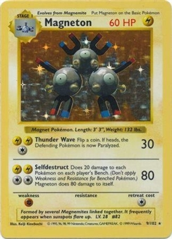 Pokemon Base Set 1 Single Magneton 9/102 - Shadowless - SLIGHT PLAY (SP)