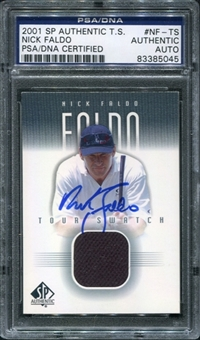 2001 Upper Deck SP Authentic Tour Swatch #NFTS Nick Faldo Autograph PSA/DNA Slabbed