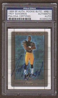 1999 Upper Deck SP Authentic Rookie Blitz #RB17 Troy Edwards Autograph PSA/DNA Slabbed