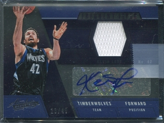 2012/13 Panini Absolute Frequent Flyer Materials Autographs #4 Kevin Love 23/49