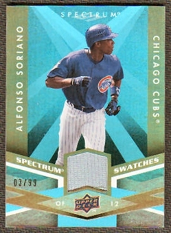 2009 Upper Deck Spectrum Spectrum Swatches Light Blue #SSAS Alfonso Soriano /99