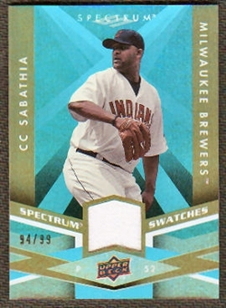 2009 Upper Deck Spectrum Spectrum Swatches Light Blue #SSCS CC Sabathia /99