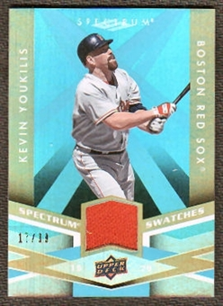 2009 Upper Deck Spectrum Spectrum Swatches Light Blue #SSKY Kevin Youkilis /99