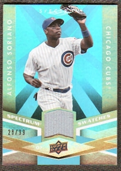 2009 Upper Deck Spectrum Spectrum Swatches Light Blue #SSSO Alfonso Soriano /99