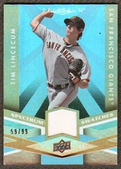 2009 Upper Deck Spectrum Spectrum Swatches Light Blue #SSTL Tim Lincecum /99