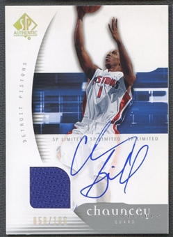 2005/06 SP Authentic #23 Chauncey Billups Limited Jersey Auto #058/100