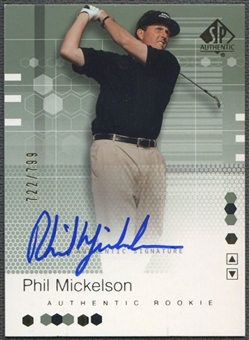 2002 SP Authentic #110 Phil Mickelson Rookie Auto #722/799