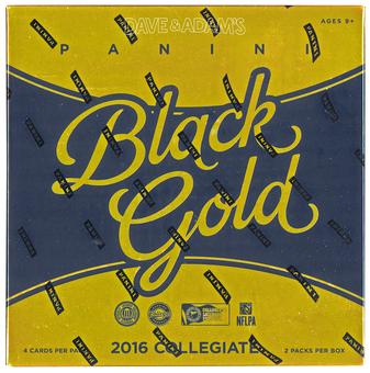 2016 Panini Black Gold Collegiate Football Hobby Box (PLUS 3 Panini NFL Kickoff Packs!)