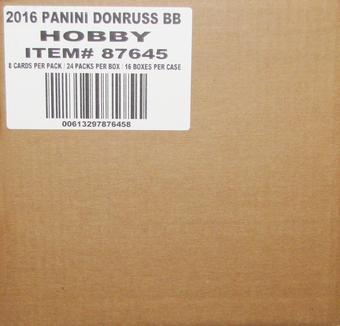 2016 Panini Donruss Baseball Hobby 16-Box Case