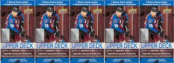 2016/17 Upper Deck Series 2 Hockey 12-Pack Box (Lot of 5)