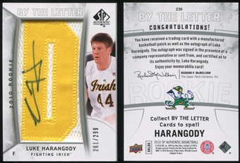 2010/11 Upper Deck SP Authentic #236 Luke Harangody AU/Serial 299, Print Run 2691 Autograph /2691