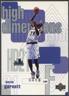 1997/98 Upper Deck #D21 Kevin Garnett High Dimensions #0488/2000