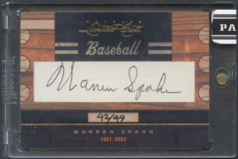 2011 Donruss Limited Cuts #336 Warren Spahn Cut Auto #42/49