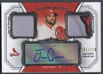 2012 Topps Museum Collection #JG Jaime Garcia Signature Swatches Dual Relic Jersey Auto #151/179
