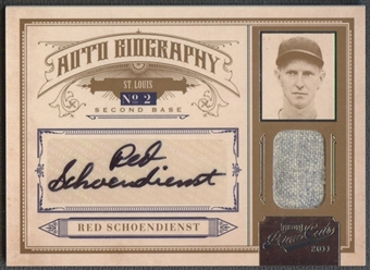 2011 Prime Cuts #6 Red Schoendienst Biography Materials Jersey Auto #16/49