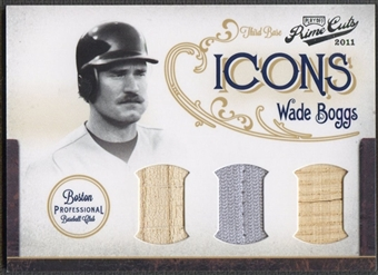 2011 Prime Cuts #16 Wade Boggs Icons Materials Trios Bat Jersey #22/25