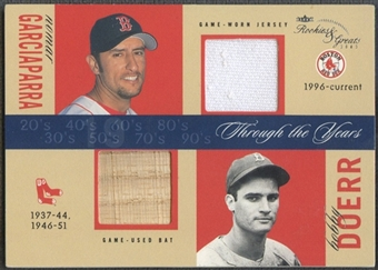 2003 Fleer Rookies and Greats #NGBD Nomar Garciaparra Bobby Doerr Through the Years Game Used Dual Jersey Bat