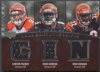 2007 Upper Deck Premier #PJJ Rudi Johnson Chad Johnson Carson Palmer Rare Remnants Triple Jersey #26/50