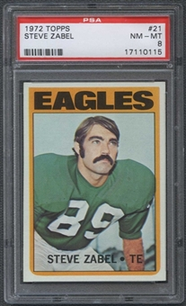 1972 Topps Football #21 Steve Zabel PSA 8 (NM-MT) *0115