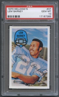 1970 Kellogg's Football #37 Lem Barney PSA 10 (GEM MT) *7385
