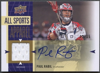 2011 Upper Deck World of Sports #ASPR Paul Rabil All-Sport Apparel Jersey Auto #12/15