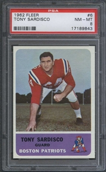 1962 Fleer Football #6 Tony Sardisco PSA 8 (NM-MT) *9843