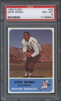 1962 Fleer Football #35 Gene Mingo PSA 8 (NM-MT) *9844