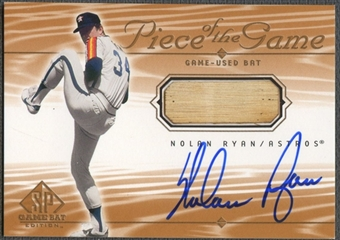 2001 SP Game Bat Edition #SNR Nolan Ryan Piece of the Game Bat Auto