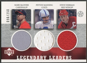 2002/03 UD SuperStars #MPS Mark McGwire Peyton Manning Steve Yzerman Legendary Leaders Triple Jersey #090/250